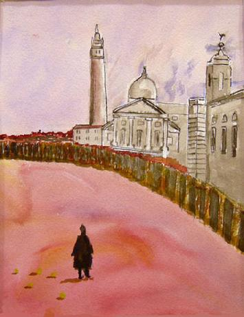 Watercolor Painting on Paper entitled 'Tourist'
