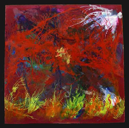"Acrylic Painting on Plexiglas entitled 'Red Aquatic' 16"" x 16"""