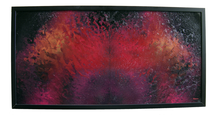 "Diptych - Enamel Painting on Plexiglas entitled ""Cosmic Diptych' 16"" x 32"" -Framed"